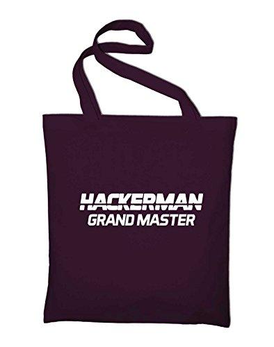 Hackerman Grandmaster Logo Fun Jutebeutel Bordeaux