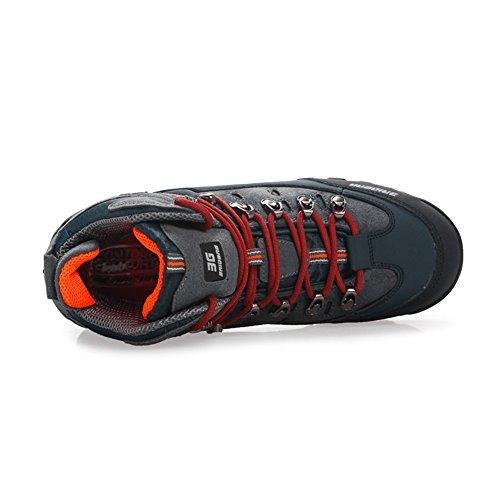 Wandern Schuhe Herren Big Size Leder Lace-ups Trail Camping Sneaker für Outdoor Walking Reisen von COMNEAR BlueOrange