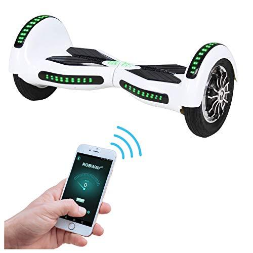 Robway W3 Hoverboard - Das Original - Samsung Marken Akku - Self Balance - 21 Farben - Bluetooth - 2 x 400 Watt Motoren – App – LED (Weiß)
