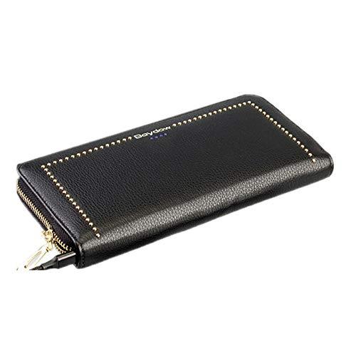 Braune Leder Scheckheft Wallet (YXCM Reißverschluss Geldbörse, Frauen wiederaufladbare Handy Geldbörse Reißverschluss RFID Anti-Diebstahl-Bürste Smart Charging Wallet,Black)