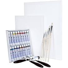 Artina® Set de pinturas Malta colores al óleo - Incluye lienzos pinceles y espátula - Aficionados y profis