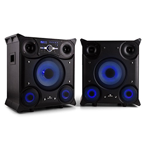 Malone GTX-5 pareja de altavoces con Bluetooth (800 W, entrada USB, AUX, MP3, iluminación LED, radio FM, sección para micrófono, ecualizador, ideal para karaoke o fiestas) - negro