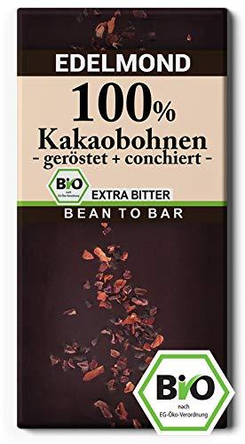 Edelmond 100% geröstete Edel Kakaobohnen. Kein Zusatz von Kakaomasse. Extrem Bitter, da handwerklich gemahlene Kakaobohne. (1 Tafel) - Plantagen Dunkle Schokolade