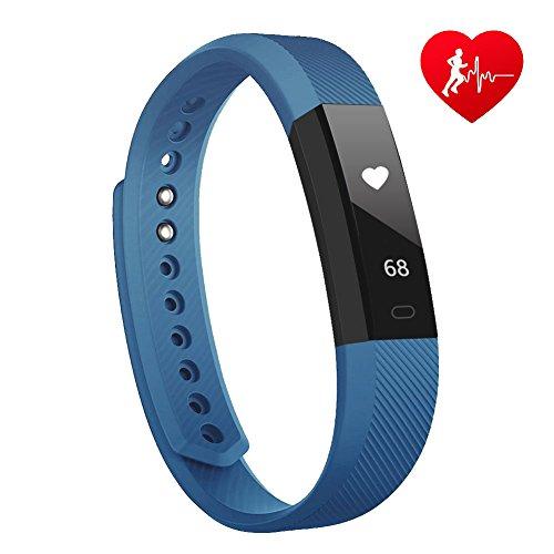 Fitness Tracker mit herzfrequenz Lintelek Fitness Uhr Fitness Armbanduhr Step Tracker Kalorienzähler aktivitätstracker Schrittzähler Uhr SMS Anrufe Blau