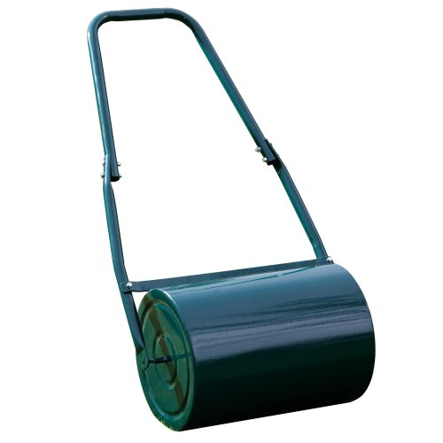 Garden Lawn Roller Heavy Duty Galvanised Steel Manual Push Rolling Drum, Water or Sand Filled, 30L By Garden Gear (Green)