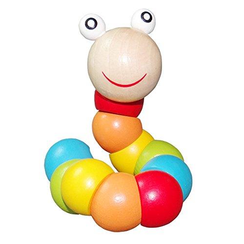 Juguetes de madera para caterpillar y cangrejo de colores arcoíris para bebés, juguetes de madera educativos, juguetes de entrenamiento flexible para niños