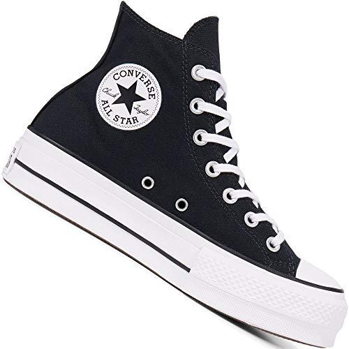 Converse Damen CTAS Lift HI Black White Sneakers, Schwarz 001, 41 EU
