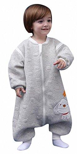Schlafsack Baby ganzjahres HUND mit Füßen kinderwinter Schläfsack schlafanzug aus Baumwollen Junge und Mädchen pyjama/overall /Strampler. für 2-5 jährige.mit langen Ärmeln. (Hund grau, L: 95-115cm)