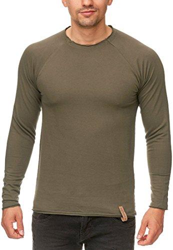 Indicode Herren Recife Sweatshirt Langarmshirt Pullover Longsleeve mit Rundhals- Ausschnitt aus Hochwertiger Baumwollmischung in Melange-Optik Army L