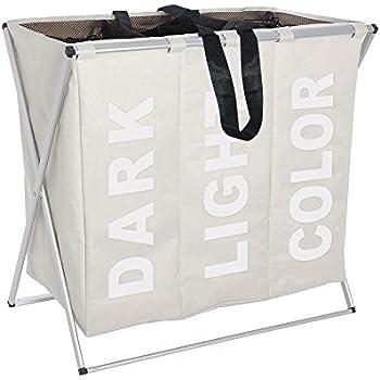 Wenko 3440113100 Wäschesammler Trio Beige - Wäschekorb, Fassungsvermögen 130 L, 100% Polyester, 63 x 57 x 38 cm, beige