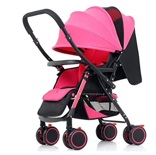 YZ-YUAN Kinderwagen Kombikinderwagen Prima All In One Travel System Leichte Faltbare Vier Rad Kann Sitzen Regenschirm 4 Wheel, Von der Geburt Bis 25 Kg,Pink