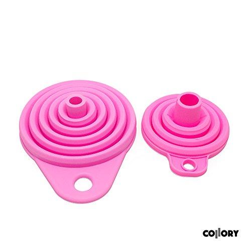 Collory Trichter-Set faltbar aus Silikon für Küche und Haushalt (2er-Set) | Öl-Trichter | mini Silikon-Trichter | Einfüllhilfe | Trichter-Satz | Zusammenklappbar | (2er-Set: Rosa (groß+klein) | — PRIME DAY ANGEBOT - 2