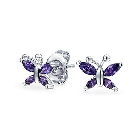 Simulated Amethyst CZ Kids Butterfly Stud Earrings Silver