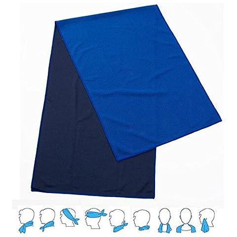 Seroda Serviette Froide, Serviette de Refroidissement Camping Sports 100cm x 30cm (Dark Blue)