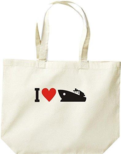 grande borsa della spesa, Shopper I LOVE YACHT, Stivale,capitano,SKIPPER Naturale