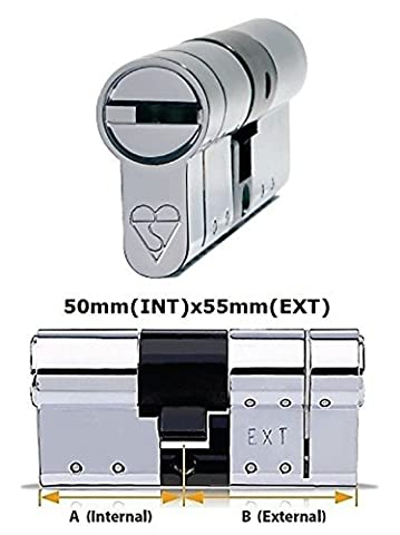 Avocet ABS High Security Euro Cylinder - Anti Snap Lock - Sold Secure Diamond Standard - 3 Star - Chrome 50mm(INT)x55mm(EXT) by Avocet ABS