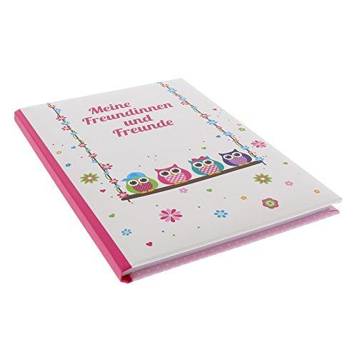 Goldbuch Freundebuch, Eulen auf Schaukel, A5, 72 illustrierte Seiten, Kunstdruck laminiert, Weiß, 43944
