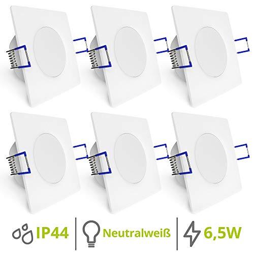 linovum WEEVO 6er Set flache LED Einbaulampen Bad - Deckenstrahler 6,5W neutralweiß - eckig weiss IP44 Spritzwassergeschützt
