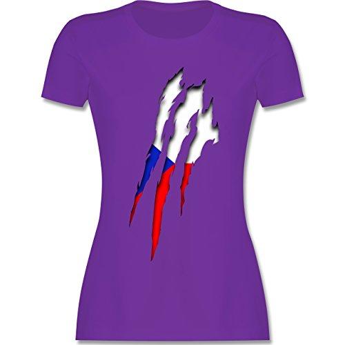 EM 2016 - Frankreich - Tschechien Krallenspuren - tailliertes Premium T-Shirt mit Rundhalsausschnitt für Damen Lila