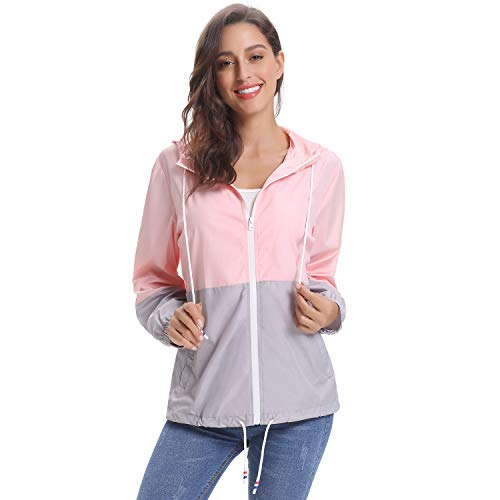 Luxspire Rain Jacket, Waterproof Contrast Color Long Sleeve Raincoat Windbreaker Quick Dry Sports Outdoor Hoodie for Women Ladies Girls, Pink & Gray, 2X-Large (Small Shorts Womens Running)