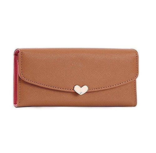 YARBAR Borsa di cuoio delle donne della signora Fashion PU cuore di amore di frizione fibbia Wallet Borse Multi-Card wallet