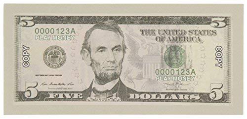 Spielgeld - $ 5 Fünf-Dollar-Scheine spielen Spielgeld Realistische Doppelseitige Prop Geld, 100 Coun Juvale