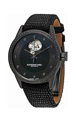 Raymond Weil Freelancer Black PVD Steel & Diamond Automatic Womens Strap Watch Black Cutout Dial 2750-BK1-05208
