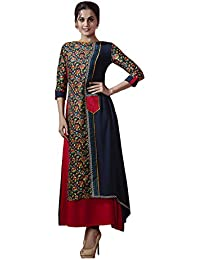 Riva Enterprise Women's Rayon Fancy Navyblue And Red Color Kurti (size_L)
