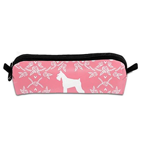 Schnauzer Floral Silhouette Minimal Dog Breed Flamingo Pencil Pouch Bag Stationery Pen Case Makeup Box with Zipper Closure 21 X 5.5 X 5 cm -