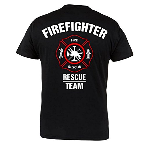 Rule Out Maglietta firefighter. Fire Rescue team. FUOCO brigade. PALESTRA allenamento. sportswear. Casual Nero