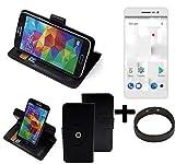 K-S-Trade® Hülle Schutzhülle Case Für -Thomson Delight TH201- + Bumper Handyhülle Flipcase Smartphone Cover Handy Schutz Tasche Walletcase Schwarz (1x)
