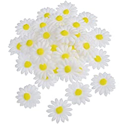 50 Piezas de Flor de Margaritas de Tela para Decoración Manualidad Capo de Pascua, Flores Falsas Blancas Artificiales de Manualidades, 5 cm de Diámetro