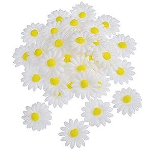 WILLBOND 50 Piezas de Flor de Margaritas de Tela para Decoración Manualidad Capo de Pascua, Flores Falsas Blancas…