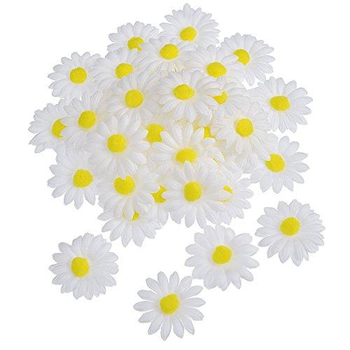 WILLBOND 50 Pezzi Fiore delle Margherite del Tessuto per Pasqua Cofano Mestiere Decorazioni, Artificiale Bianco Mestiere Fiori Finti, 5 cm, Diametro