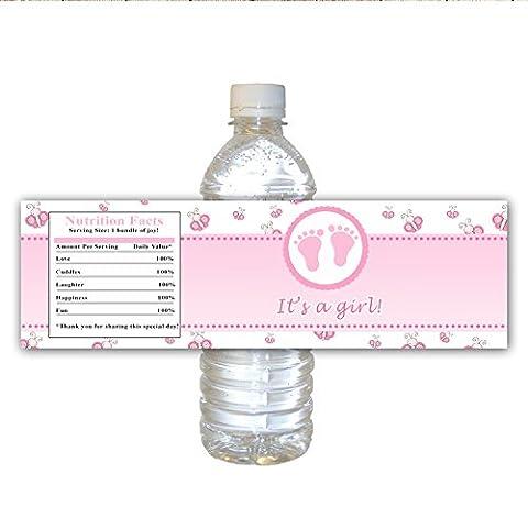 30Bouteille d'eau 30étiquettes imperméable rose papillon pieds de bébé Pour son design Parti d'une fille bébé douche
