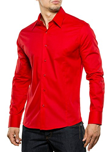 Reslad Herren-Hemd Langarmhemd Bügelleicht Slim Fit Figurbetont Uni RS-7002 Rot