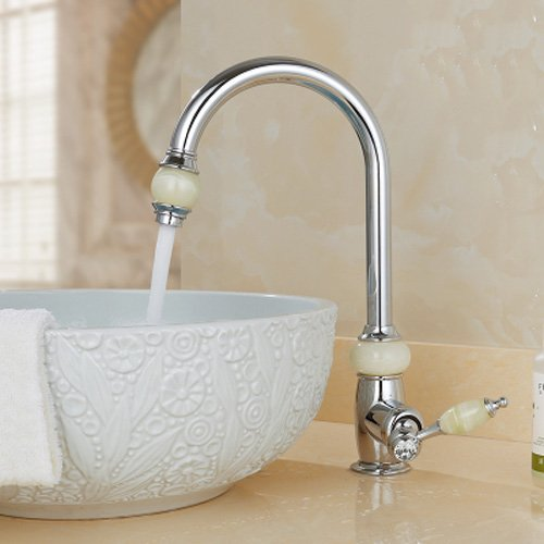 Pumpink brass brass strip type hot and cold sink basin antique retro vintage basin on high density glass stage telescopic jade Germany spray red glossy basin mixer tap (Color: Chrome, size: A)