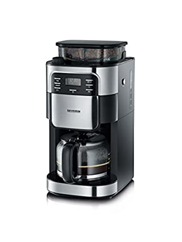 Severin KA 4810 Digital Filter Coffee Maker with Integrated Grinder, 1.4 Litre, 1000 W, Brushed Stainless-Steel/Black