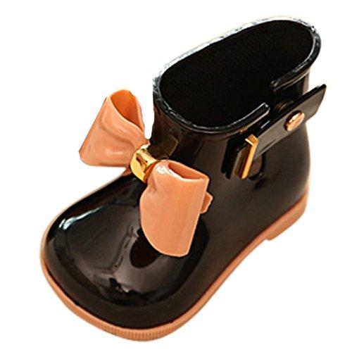 Kinder Regenstiefel | Bunte Unisex-Gummistiefel Für Mädchen und Jungen | schadstofffrei Wasserdicht Schuhe (19, Schwarz) (Mädchen Stiefel Größe 3)