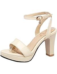 AIYOUMEI Damen T-Spangen Sandalen mit Blockabsatz Lack Sandaletten High Heels Schuhe Sommer