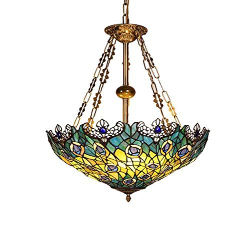 Kronleuchter DREI-Kopf Korridor Balkon Tiffany Primärfarbe Glas Einzelkopf -