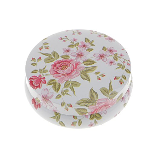 Homyl Aufbewahrungsbox aufbewahrungsdose mit Deckel, Geschenkdose Metalldose - Weiß mit Blumen