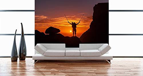 Fototapete selbstklebend Wanderer im Sonnenuntergang III - 360x230 cm - Wandtapete - Poster - Dekoration - Wandbild - Wandposter - Bild - Wandbilder - Wanddeko