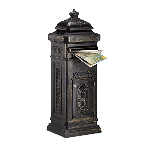 Relaxdays Standbriefkasten Antik HBT: 101 x 34,5 x 31 cm Säulenbriefkasten aus rostfreiem Aluminium englischer Briefkasten Postkasten in britischem Design mit Posthorn, Bronze