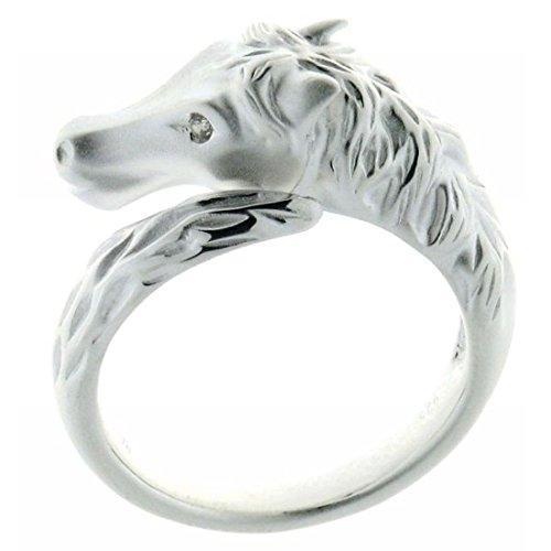 Derby Ring Pferdekopf am Schweif mit Zirkonia Auge 58 24069-58