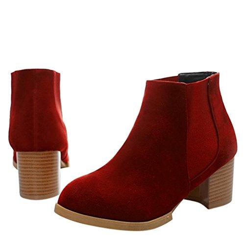 fereshte ,  Damen Durchgängies Plateau Sandalen mit Keilabsatz Rot