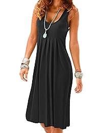 Flying Rabbit Women Dress Beach Dress Printing Knielang Sleeveless Round Collar A-Line Loose Summer Dress