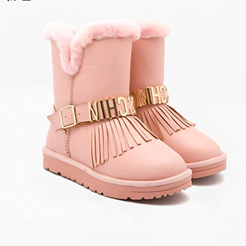 SHANGXIAN Donna Un Arco Alto Pelliccia Classico Autunno Inverno Neve Stivali Snow Boots pink