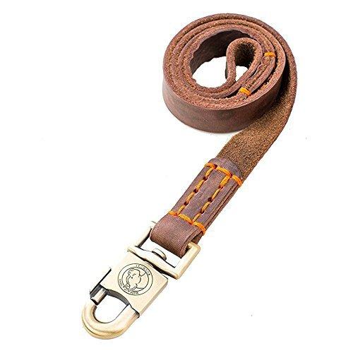 Rantow Super Strong Leder Pet Training führt für mittelgroße Hunde oder große Hunde 1 Zoll breit und 3 ft, 4 Fuß und 5 Fuß lang handgemachtes Brown-Leder-Hundeleine (5 Fuß)