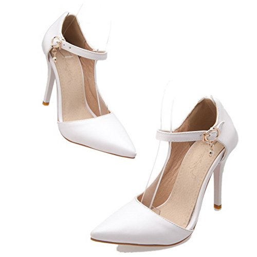 Cuir Pointu Blanc Boucle PU Correct Légeres Unie à Chaussures Femme AgooLar Couleur Talon 7SqwwY